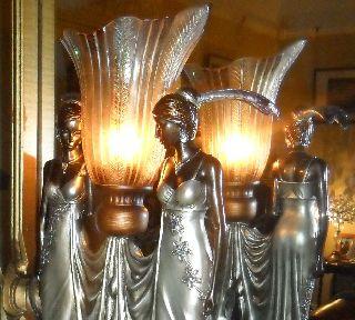 Art Deco Vintage Chrome Peacock Jewel Flapper Antique Nora 2 Lady Lamp Light photo