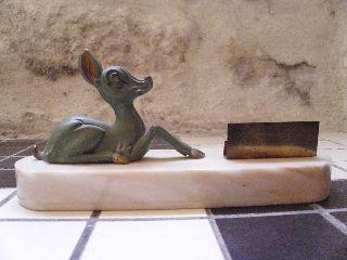 A Cute Art Deco Frame With Verdigris Stylised Fawn (bambi) On Marble Base photo