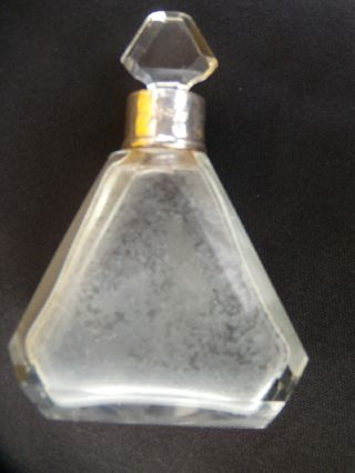 Art Deco Glass Silver Hallmarked Small Perfume Bottle Ex.  Con. photo
