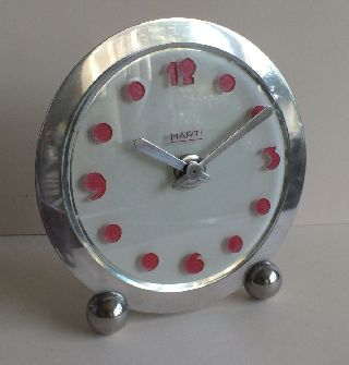 Fab French Art Deco Marti 8 Day Clock Acid Etched Glass Dial Nickel Plate photo