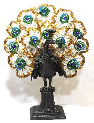 Antique Art Deco Czechoslovakian Czech Peacock Lamp Faceted Glass Beads Nr photo