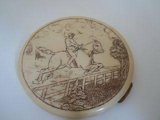 Art Deco 30 ' S American Large Circular Horse Riding Celluloid Bakelite Compact photo
