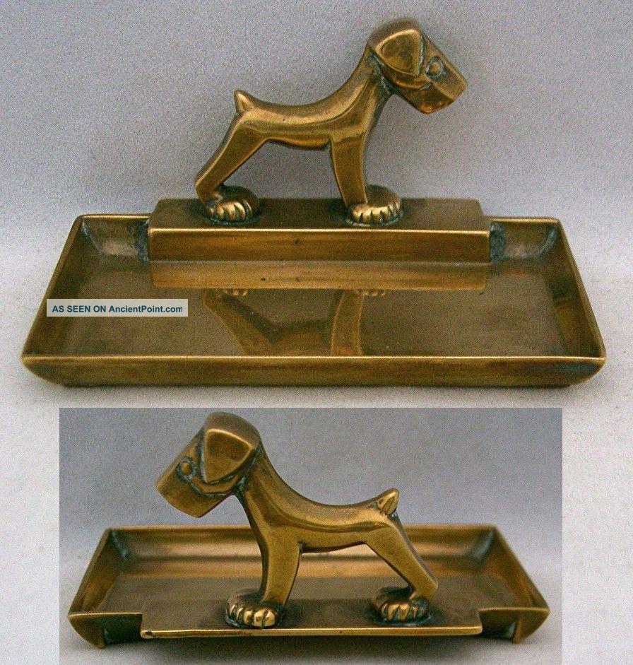 Vintage Art Deco Brass Rectangular Pin Dish,  Stylised Terrier Dog,  1930's Art Deco photo
