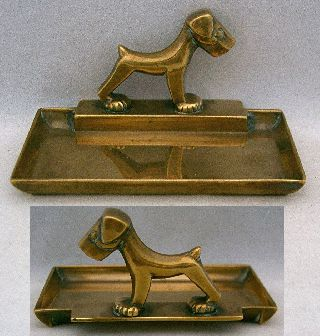 Vintage Art Deco Brass Rectangular Pin Dish,  Stylised Terrier Dog,  1930's photo