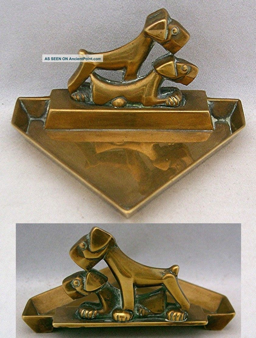 Vintage Art Deco Brass Triangular Pin Dish,  2 Stylised Terrier Dogs,  1930's Art Deco photo