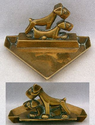 Vintage Art Deco Brass Triangular Pin Dish,  2 Stylised Terrier Dogs,  1930's photo