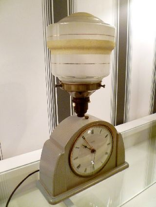 Fantastic 1930 ' S Art Deco Metamec Clock / Lamp W.  Shade - Fully Working photo