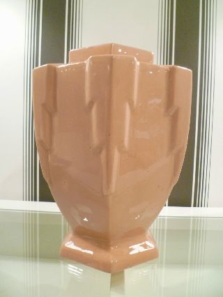 1920 ' S Art Deco Ceramic Vase - Geometric Skyscraper Design - Antique photo