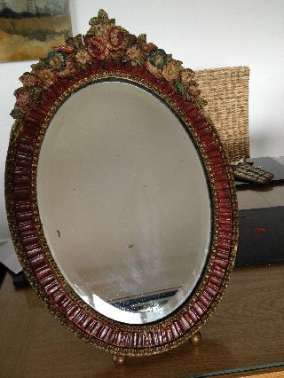 Large Art Deco Barbola Ribbon Round Mirror With Rose Crowned Dressing photo