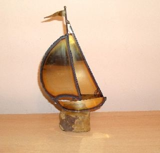 Good Novelty 1930 ' S Art Deco Brass Ship On Marble Base,  Signed photo
