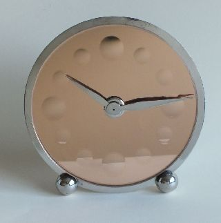 French Art Deco Marti 8 Day Clock Peach Mirror Dial Nickel Plate photo