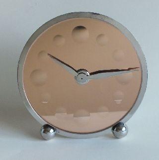 French Art Deco Marti 8 Day Clock Peach Mirror Dial Nickel Plate photo