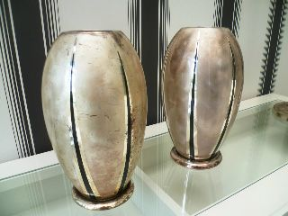 Matching Pair Of 1920 ' S Art Deco Enamel Vases - By Wmf - Antique Vintage photo