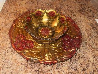 Wow Victorian Antique Art Deco Glass Dish Serving Bowl Set Shop More photo