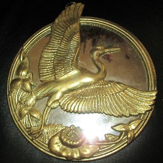 Vintage Round Brass Art Deco Wall Mirror - Figure Of A Bird In Flight photo