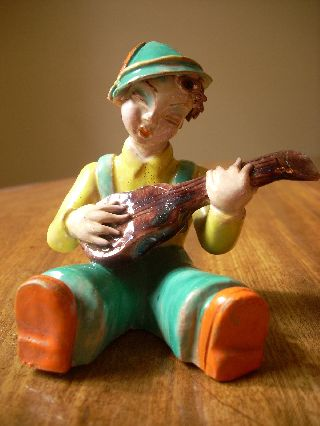 Art Deco Vintage C.  193o M Rahmer Budapest Hand Made Figure Of Boy Playing Guitar photo