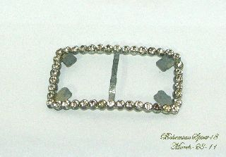 Art Deco Vintage Large Rhinestone Pot Metal Belt Buckle photo