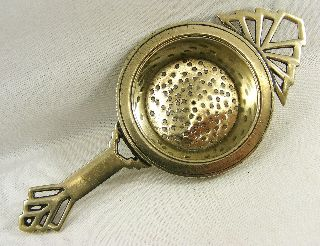 Art Deco Silver Plated English Geometric Tea Strainer photo