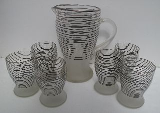 Art Deco Large Glass Jug & 6 Glasses Black & Silver Striped Bands Frosted Bases photo