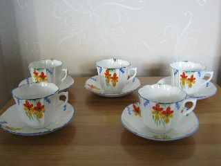 Set Of 5 Pairs Of Handpainted Art Deco Cups And Saucers.  Lovely Set photo