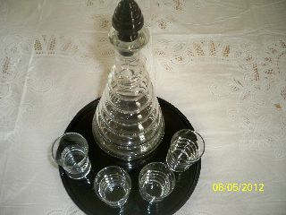 Black Amethyst Art Deco Decanter Aperitif Shot Drink Set 1930 ' S P.  Prohibition E photo