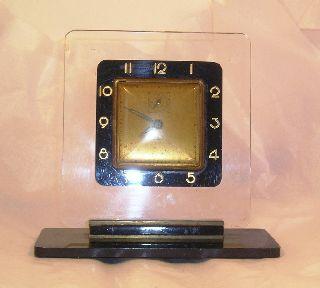 Vintage Art Deco Lucite Clock C31 photo