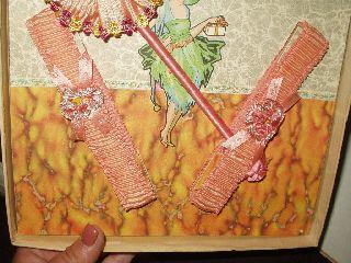 Deco Flapper Vintage 1920 ' S Ribbon Rosette Powder Puff Wand 2 Garters In Box photo