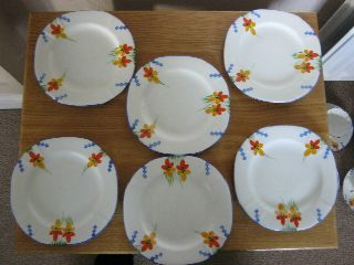 A Full Set Of 6 Handpainted Art Deco Side Plates In Lovely Condition. photo