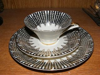 Vintage Tea Cup Saucer Plate Trio White Black Gold Bavaria Art Deco Style photo