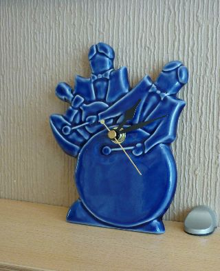 Echo Of Deco Art Pottery Electric Blue Jazz Mantel Clock photo