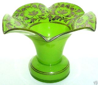 Gorgeous Art Deco Signed Czechoslovakia Silver Flowers Glass Vase May Be Tango photo