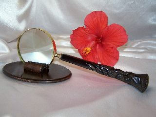 Heavily Carved Teak Handle,  Magnifying Glass photo