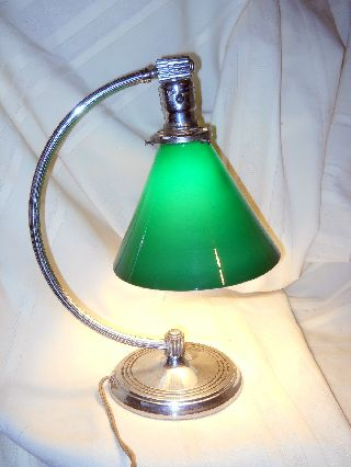 Antique Art Deco Chrome Chase Table Lamp Modern Machine Age Green Shade Century photo