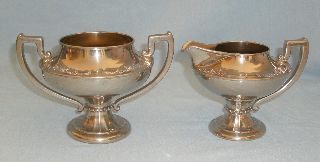 Manning Bowman & Co Art Deco Chrome Footed Sugar & Creamer W/ Gold Wash photo