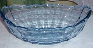Antique C1930 ' S Art Deco Cornflower Blue Depression Glass Sweet Bowl photo