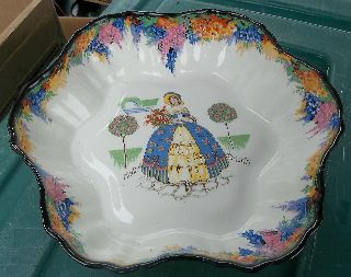 H & K Tunstall Pompadour Crinoline Lady Art Deco Era Bowl N/r photo
