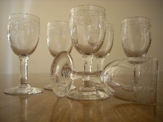 Set Of 6 Art Deco Tiny Liqueur - Shot Glasses photo