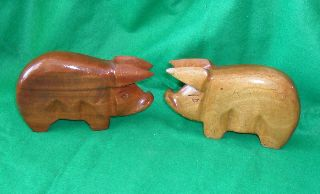 Fantastic Pair Of Wooden Pigs photo