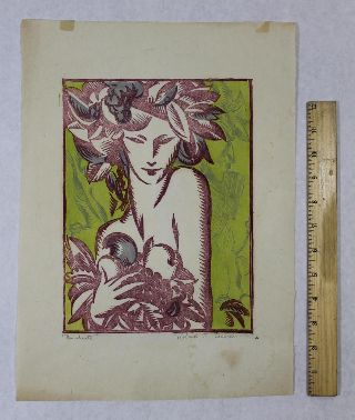 Antique Roland F Cosimini Abstract Woodblock Print Bacchante Of Bacchus photo