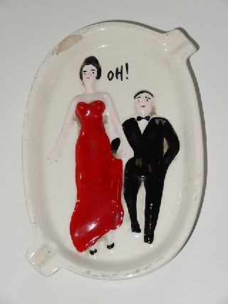 Novelty Risque Lady And Gent Art Deco China Ashtray photo