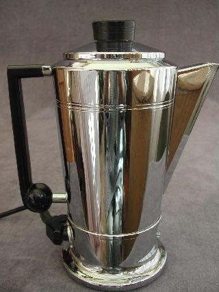 Vintage Art Deco Chrome & Bakelite Swan Coffee Percolator 1950s Pot Kettle photo