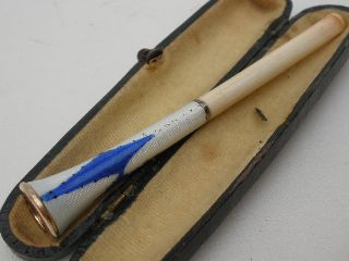 Vintage Guilloche Enamel Cigarette Holder In It ' S Case - Art Deco photo