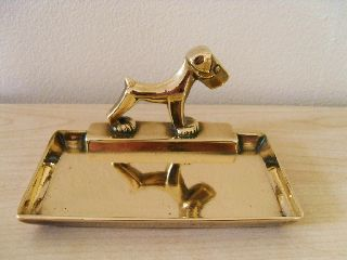 Iconic Art Deco Brass Pin Card Tray Trinket Dish Scottie Dog Desktop photo
