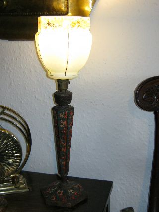 Art Deco Lamp With Fantastic Poker Work Base And Glass Shade photo