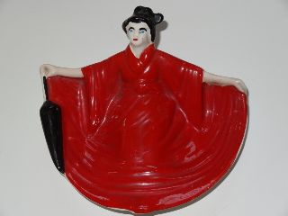 Novelty Risque Lady In Red Dress Art Deco China Ashtray photo