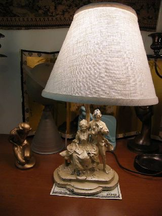 Nuart Art Deco Victorian Spelter Lamp Works Frankart Era White Metal photo
