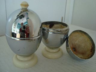 Pair Vintage Heatmaster Egg Cups Warmers Coddlers Bakelite Chrome Retro Art Deco photo