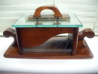 Antique Art Deco Biscuit Box In Wood,  Glass,  Mirror & Early Plastic - Geometric photo