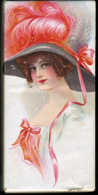 Antique Art Deco Lushus Chocolates Candy Box Early 1900s Edwardian Maiden In Hat photo