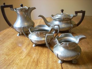 Art Deco 4 Piece Pewter Tea Set